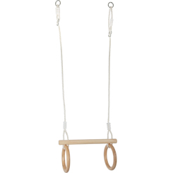 Wooden Trapeze with Gymnastic Rings